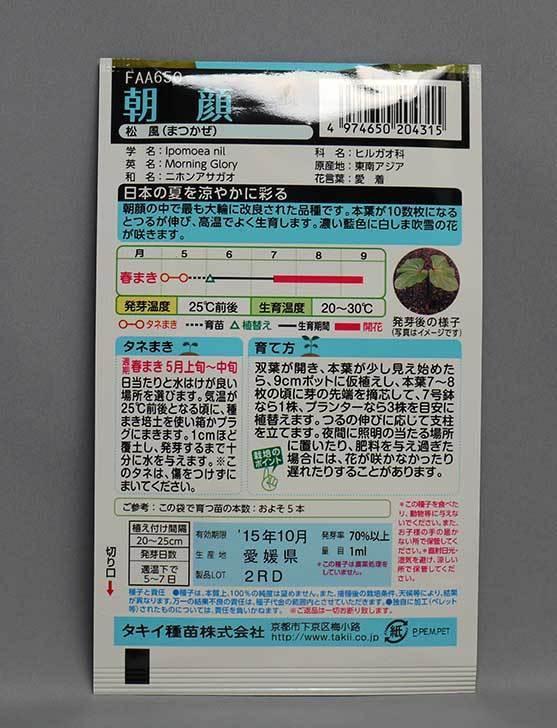 アサガオ(松風)の種をケイヨーデイツーで買って来た2.jpg