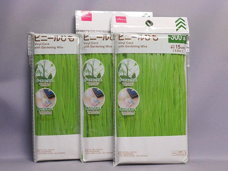 ダイソーで園芸用ワイヤー入りビニールひも 15cm×300本を3個買って来た。2020年-001.jpg