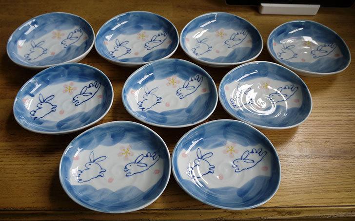 ダイソーで有田の風-ぴょんうさぎ-楕円小皿を追加で9枚買ってきた1.jpg