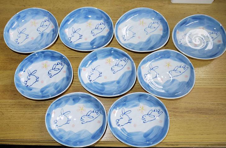 ダイソーで有田の風-ぴょんうさぎ-楕円小皿を追加で9枚買ってきた3.jpg