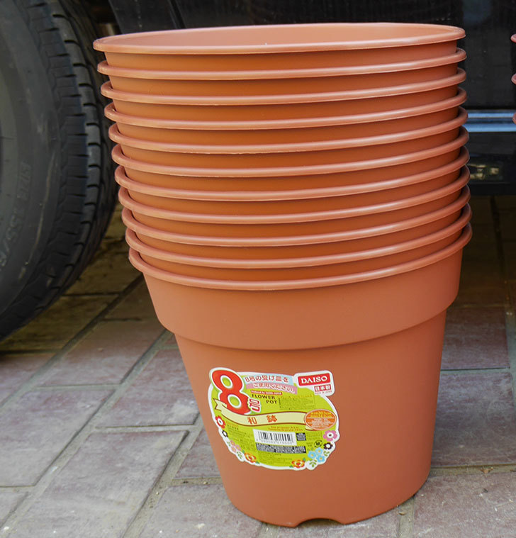 ダイソーでFLOWER-POT-8号-和鉢の茶色を11個買って来た1.jpg