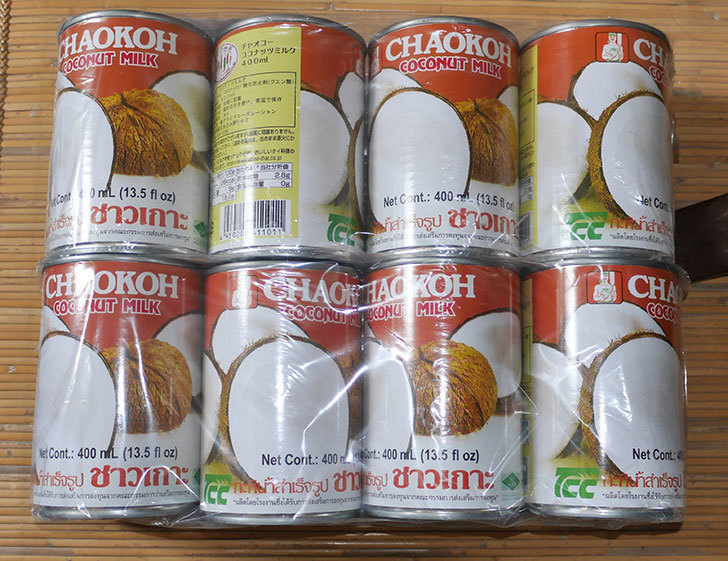 チャオコー-ココナッツミルク-400ml×4個を2セット買った1.jpg
