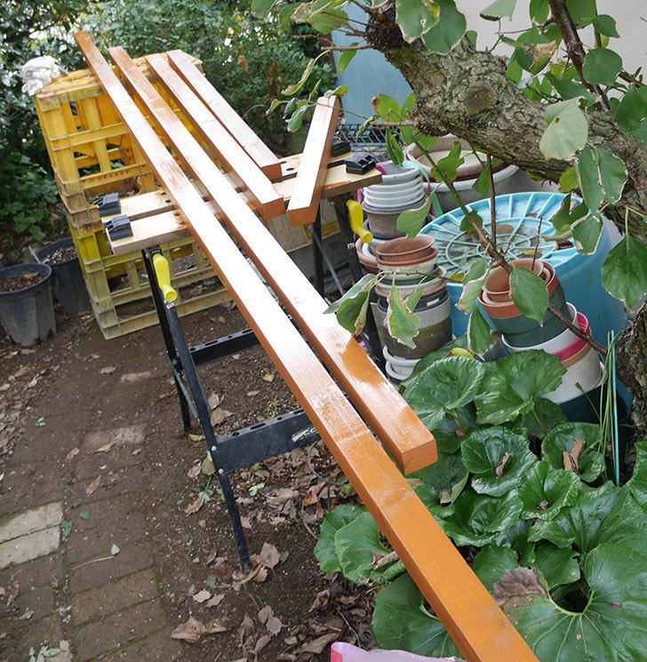 ツルバラの誘引範囲を拡張するための木材に木部保護塗料を塗った。2018年-6.jpg