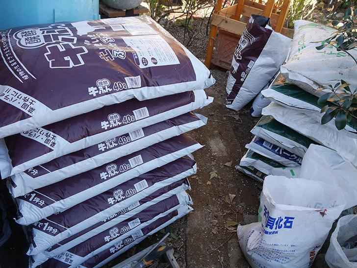 バラの寒肥用に醗酵牛ふん40Lを8個ケイヨーデイツーで買って来た。2021年-004.jpg