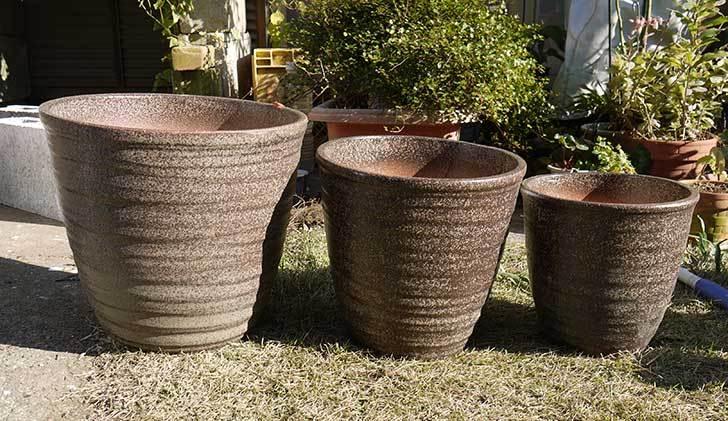 信楽焼き窯肌植木鉢-ネイチャーロング-窯肌をケイヨーデイツーで買って来た1.jpg
