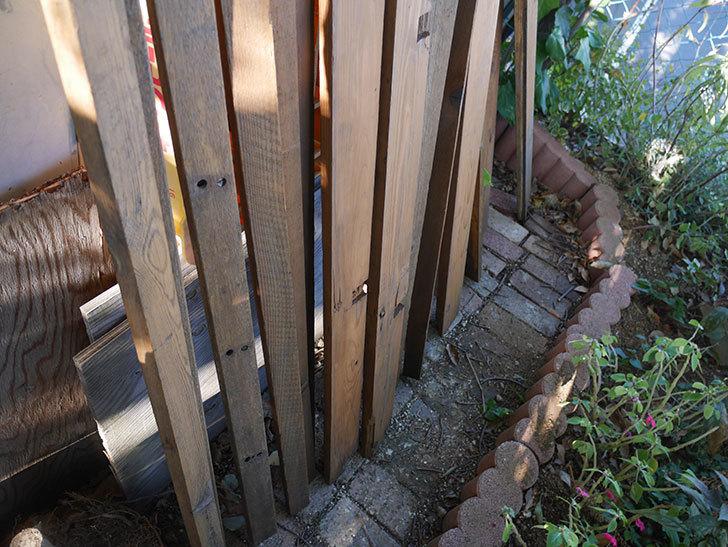 横向きに設置する板を木部保護塗料で塗装した。2020年。ツルバラ用のフェンス制作(3)-010.jpg
