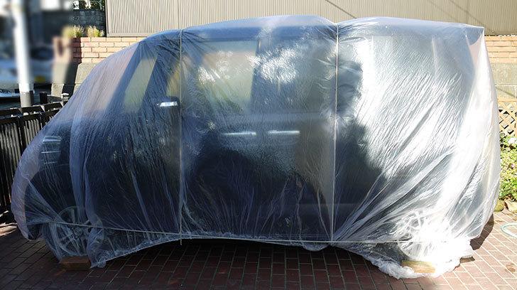 自動車養生カバー-ワンボックス車用-LLサイズをN-BOXに被せてみた1.jpg