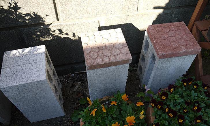 軽量ブロックとプチカラー平板で植木鉢の台を作った1.jpg