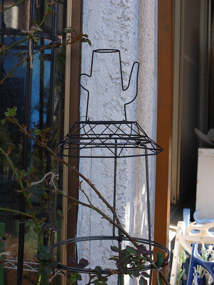 鉢スタンドを連結したオベリスクに飾りを付けた。2021年-006.jpg