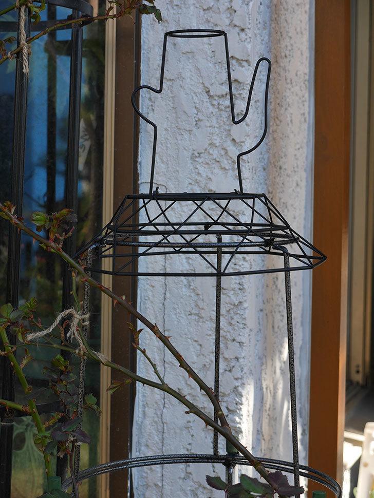 鉢スタンドを連結したオベリスクに飾りを付けた。2021年-007.jpg