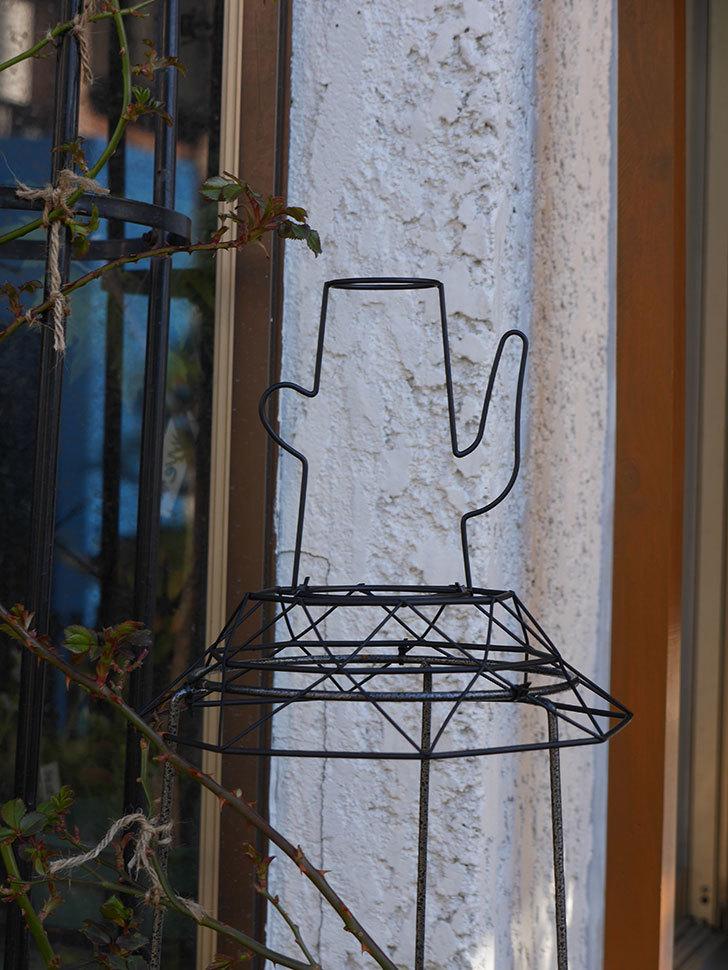 鉢スタンドを連結したオベリスクに飾りを付けた。2021年-008.jpg