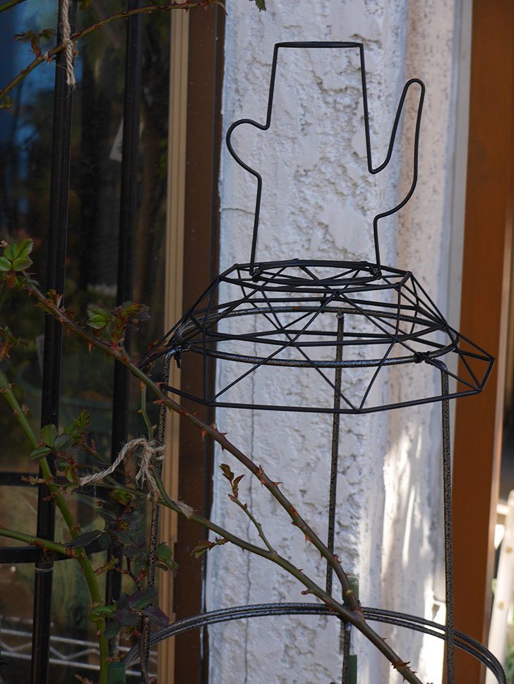 鉢スタンドを連結したオベリスクに飾りを付けた。2021年-011.jpg