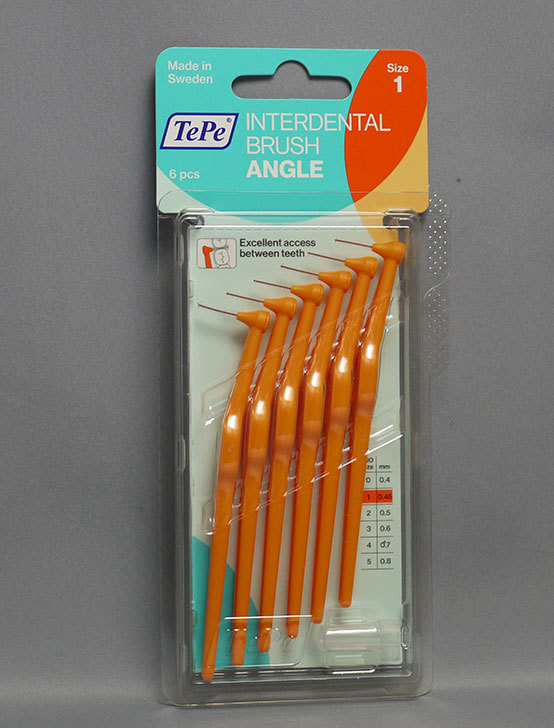 TePe-テペ-アングル-歯間ブラシ 6本入-Size1-オレンジ(0.45mm)を買って来た1.jpg